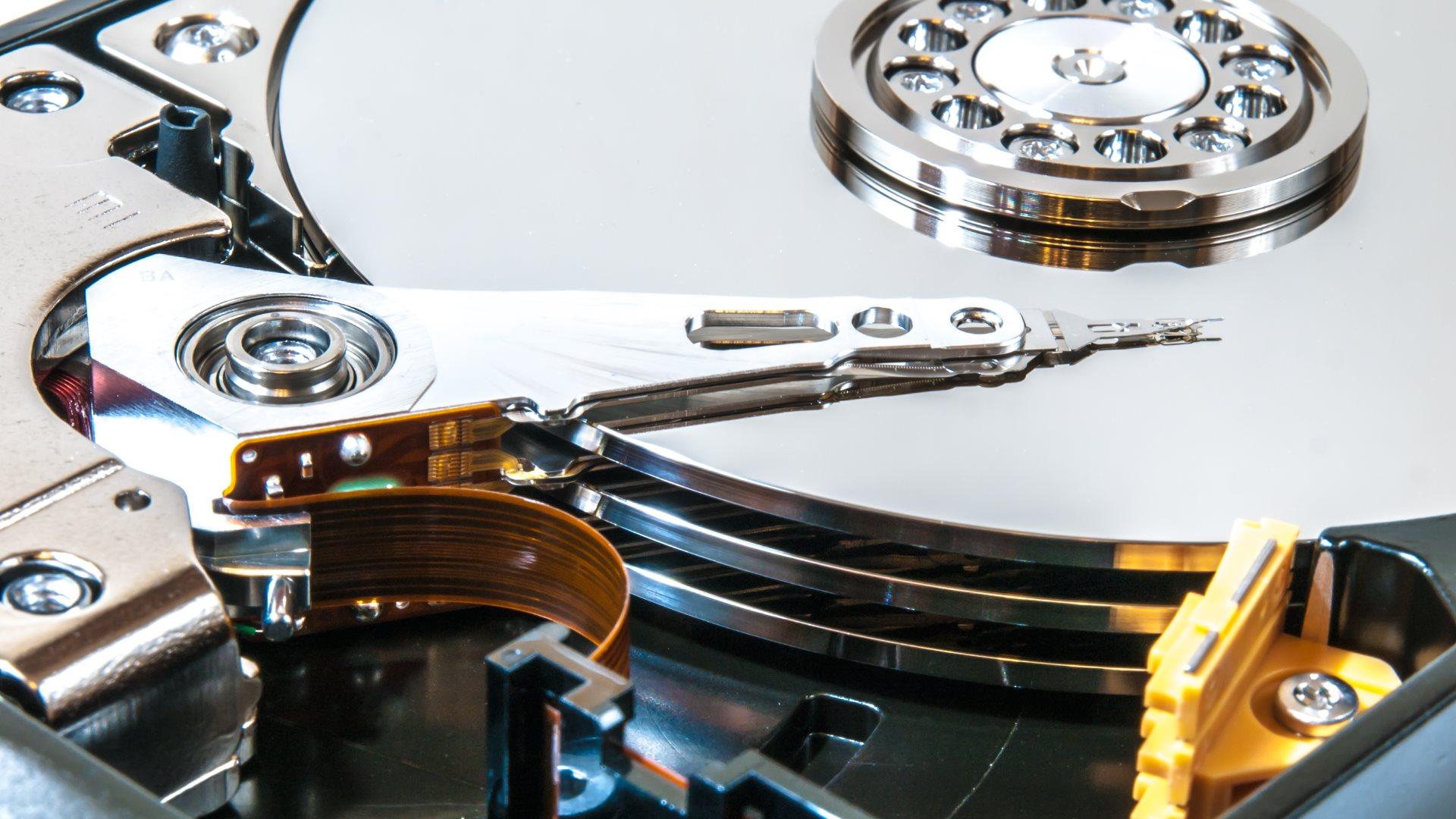 Inside of hard drive HDD hard disk drive 1920x1080