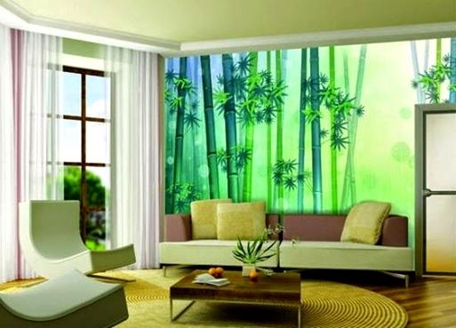 Contoh Gambar Wallpaper Dinding Untuk Ruang Tamu Sempit Rumah Idaman 513x369