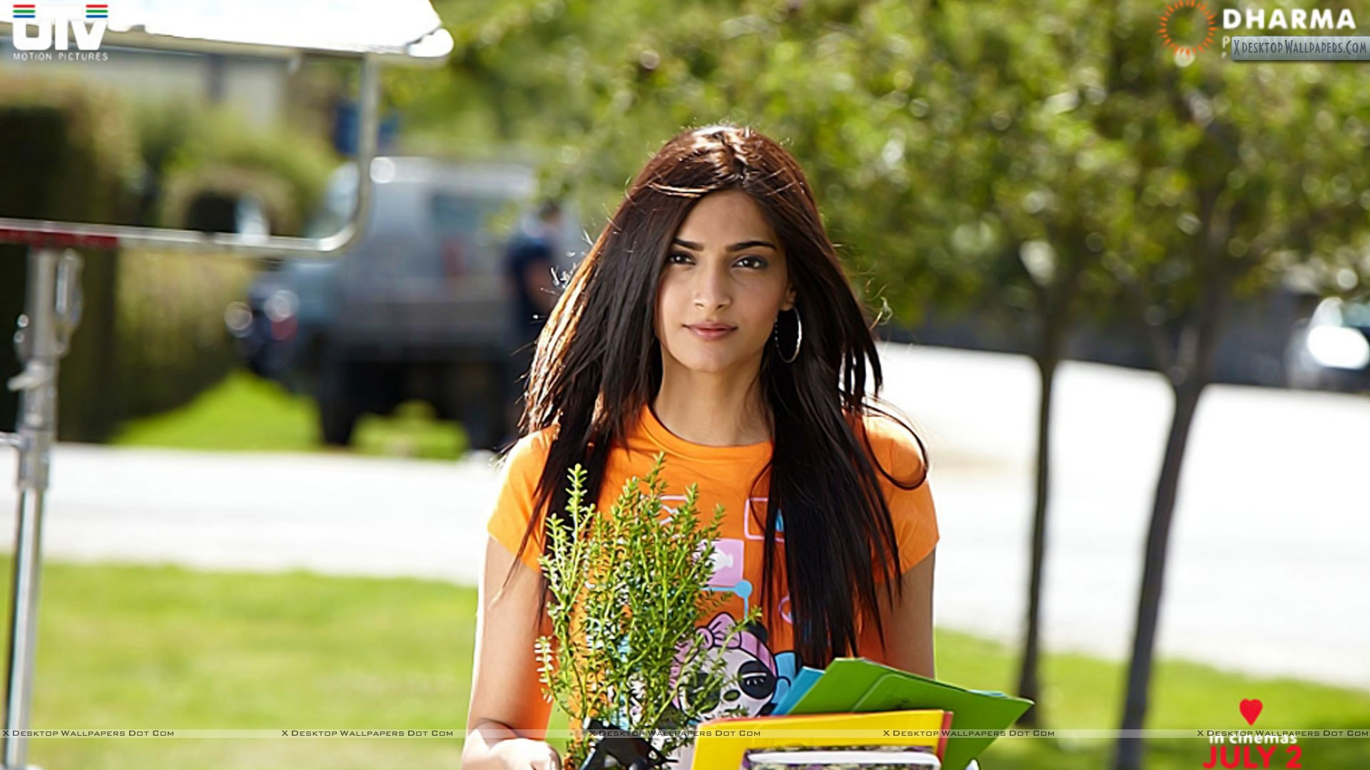 Sonam Kapoor in Orange Top I Hate Luv Story Movie Wallpaper 1920x1080