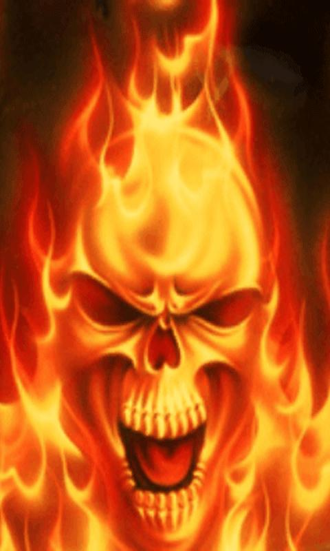 Android Phones Wallpapers Android Wallpaper Skull In Fire 480x800