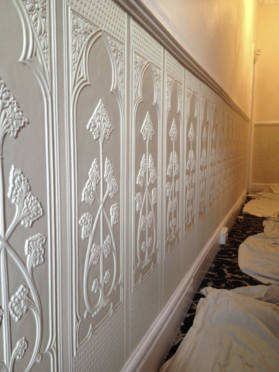 Lincrusta dado panels installation project in Cheshire Wall 960x1280