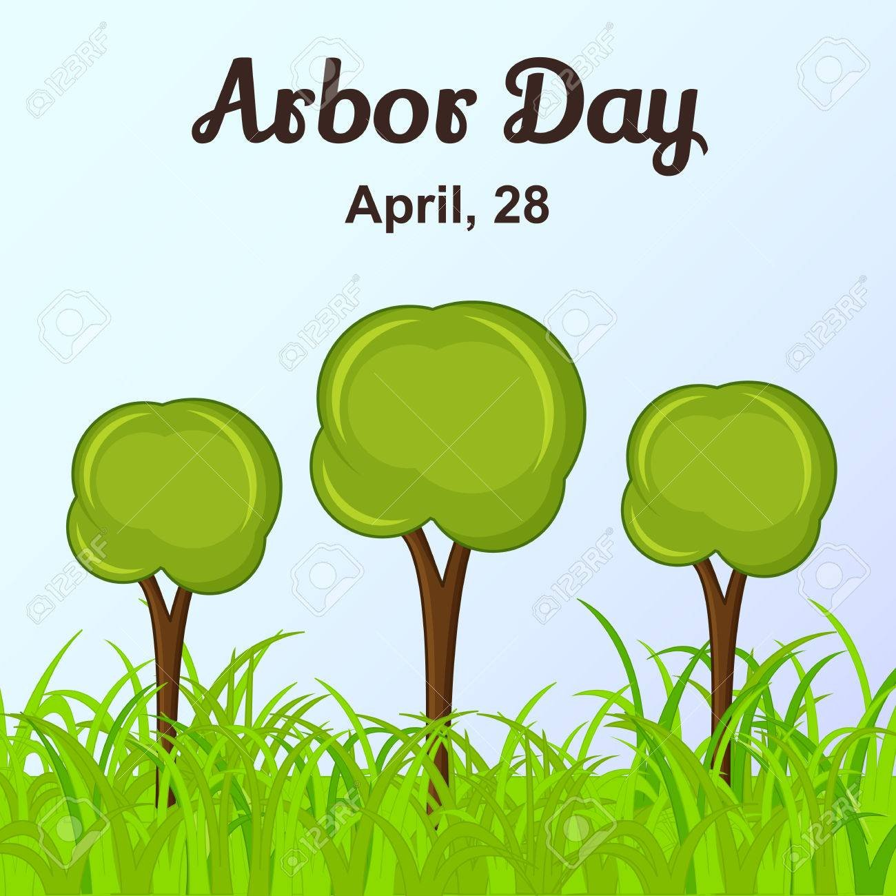 Arbor Day Background With Trees In Cartoon Style Vector 1300x1300