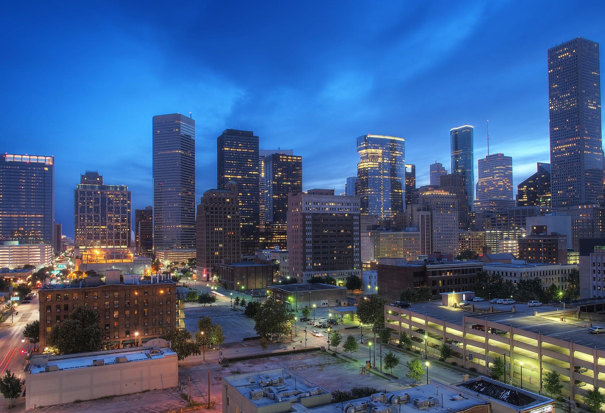 Houston architecture bridges cities City texas Night towers buildings 2048x1400