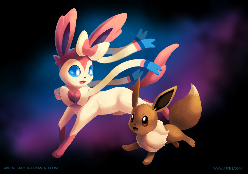 Sylveon and Eevee by arkeis pokemon 1000x704