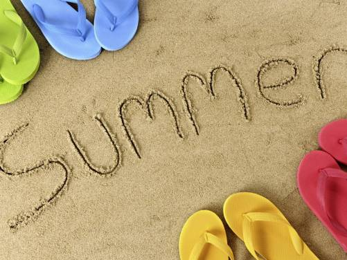 Widescreen Wallpaper Sand sign summer flip flops HD 1600x1200 501x376