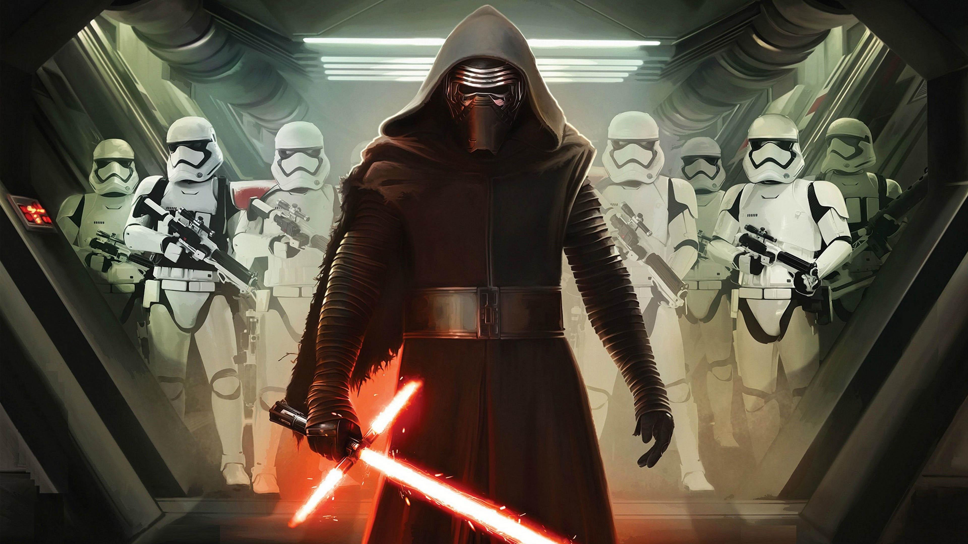 Wars 7 The Force Awakens   Kylo Ren Stormtroopers   3840x2160   4K 3840x2160