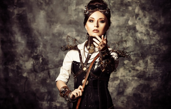 Wallpaper girl steampunk wire corset glasses style wallpapers 596x380