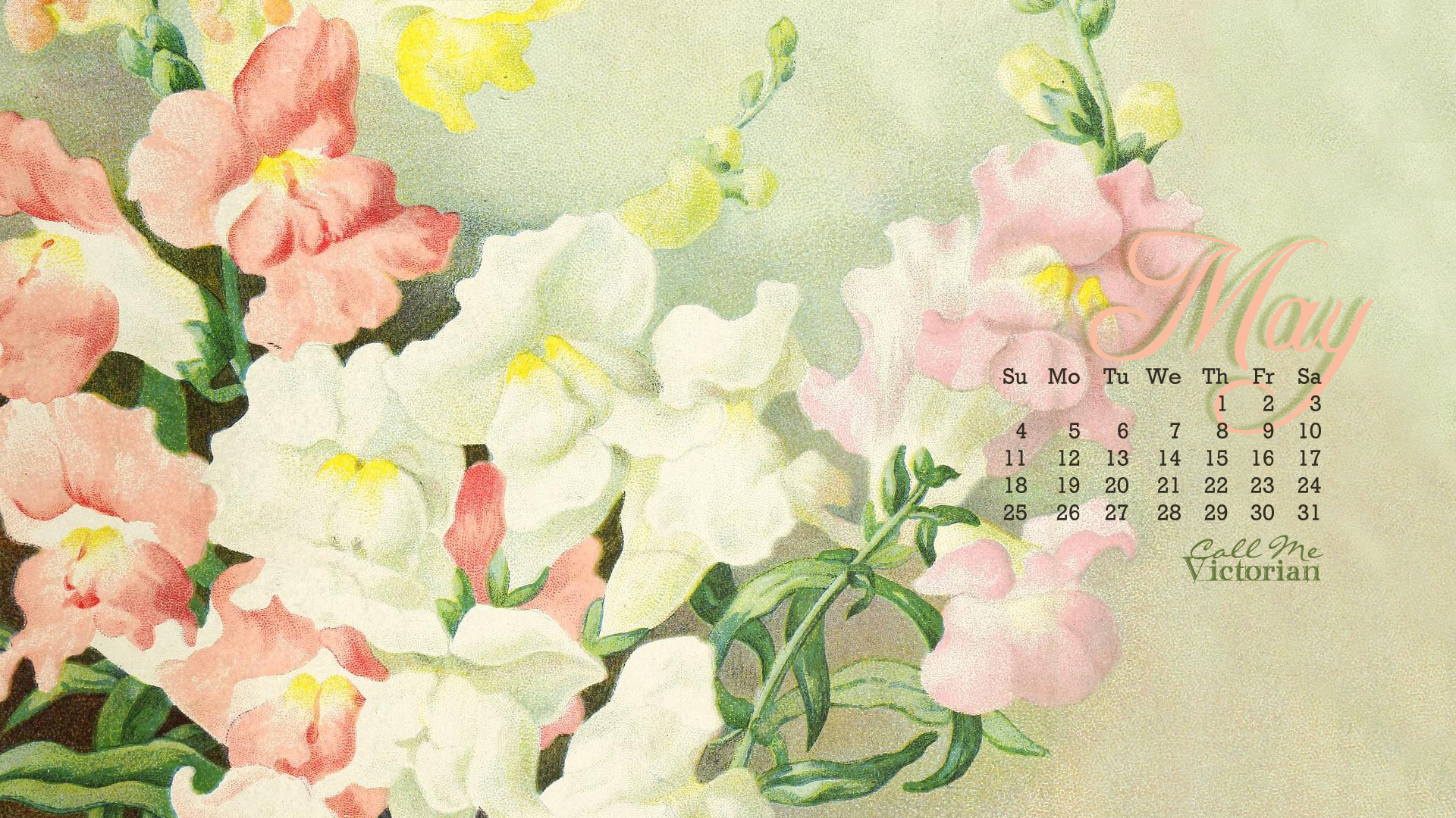 May 2014 Desktop Calendar Wallpaper Call Me Victorian 1920x1080