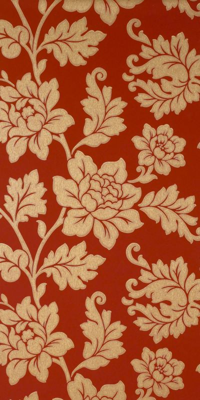 Colours Collection by B and Q Scala Wallpaper Red and Gold Effect 1m 400x800
