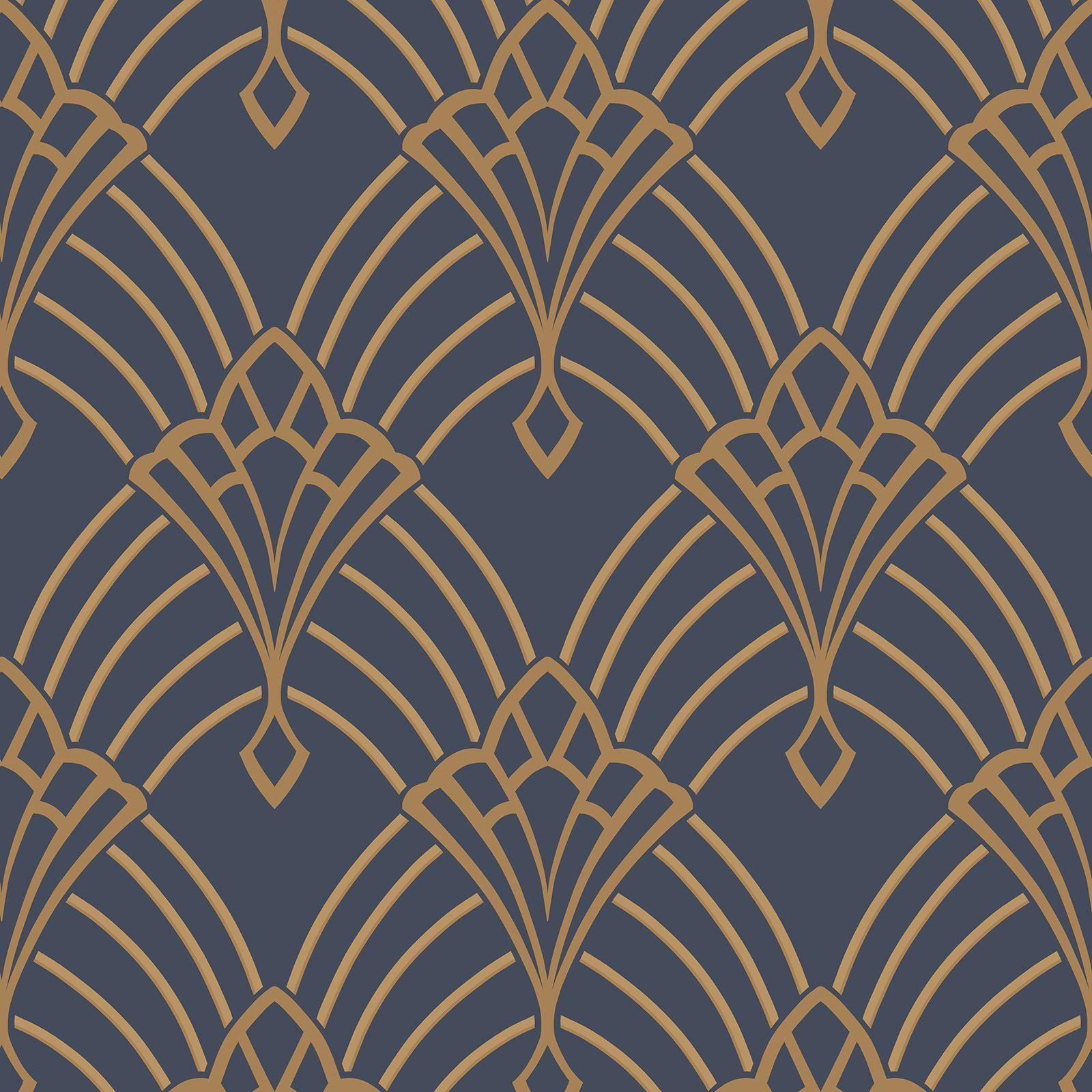 Astoria deco wallpaper dark blue and gold rasch 305340 feature 1600x1600