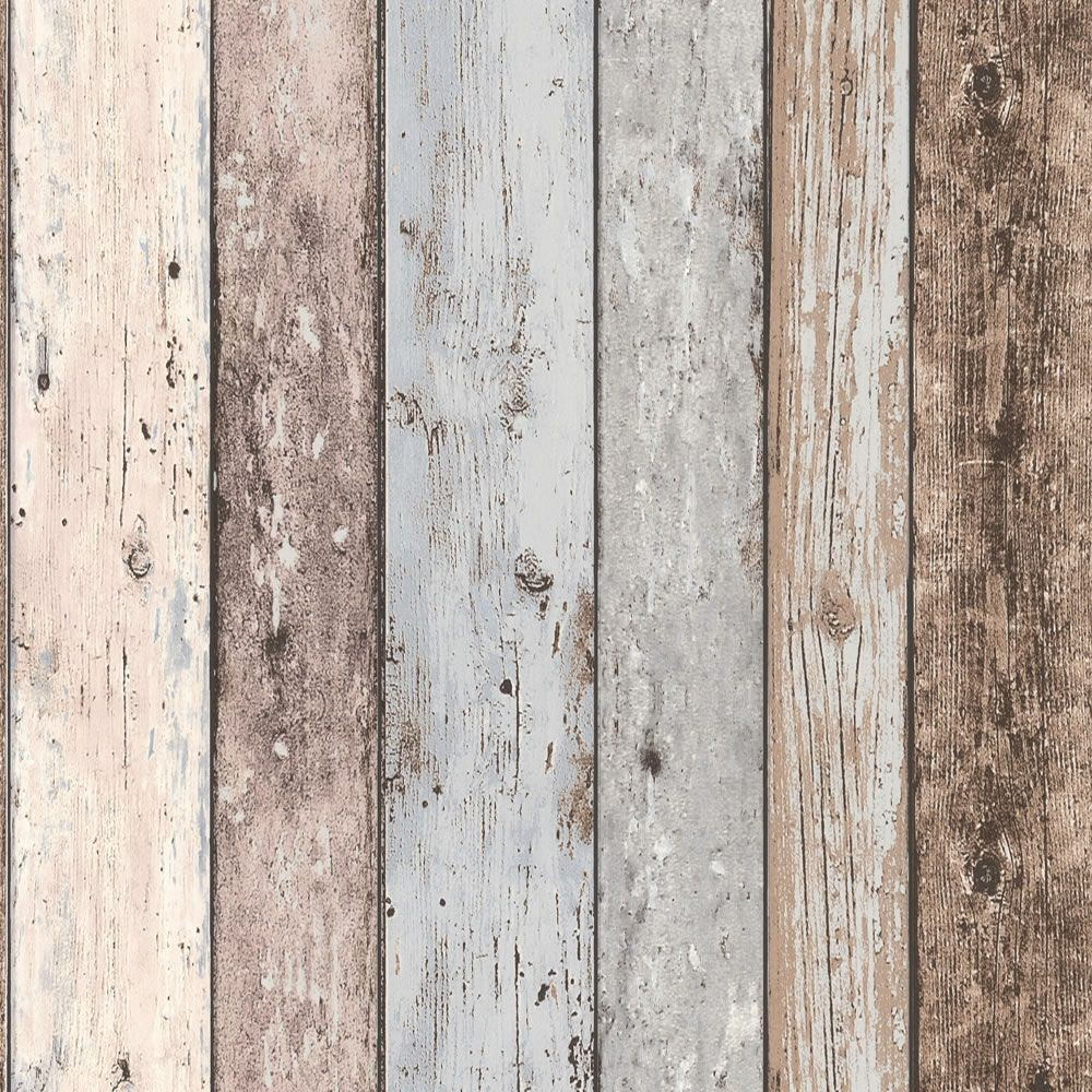 48 Faux Distressed Wood Wallpaper On