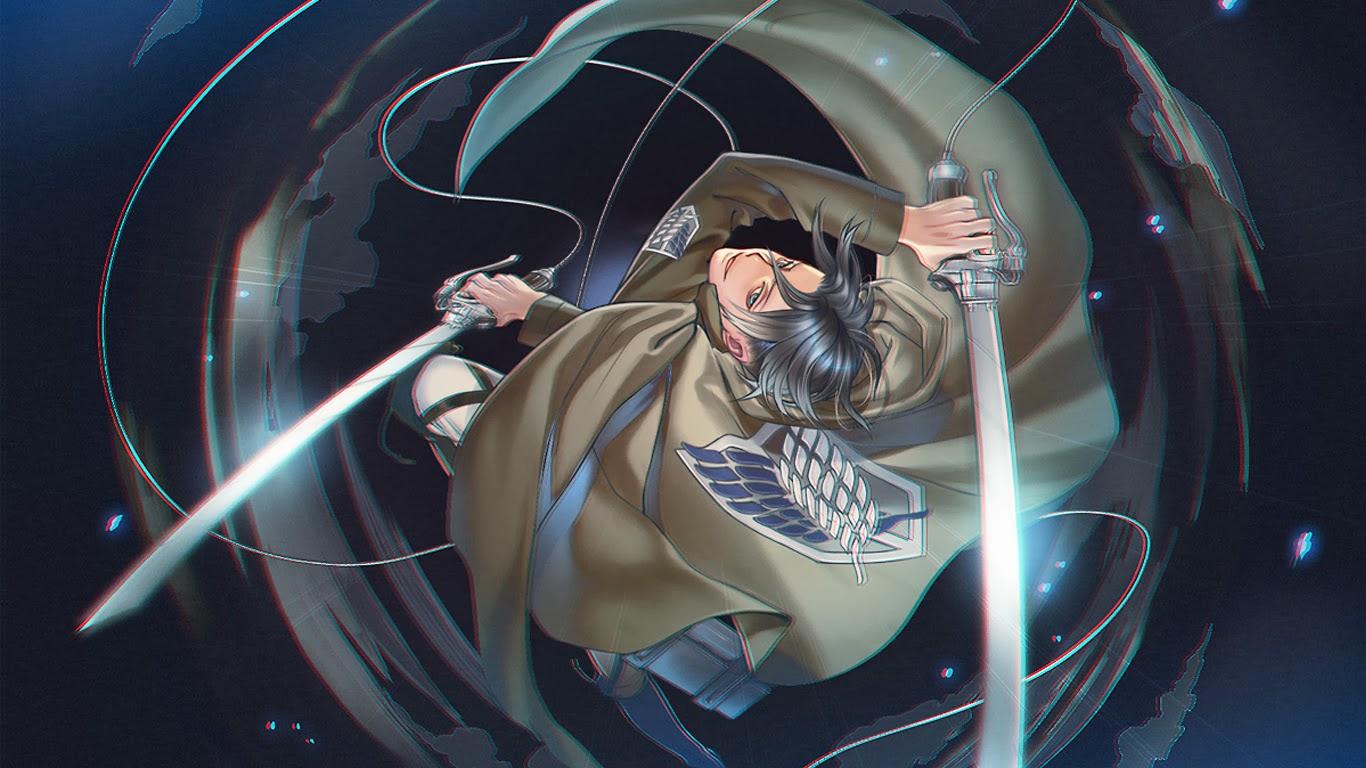captain levi 3d maneuver gear attack on titan shingeki no kyojin anime 1366x768