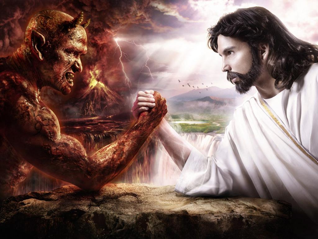 Jesus vs satan arm wrestling wallpaper 1800x1080 HQ WALLPAPER 1024x768