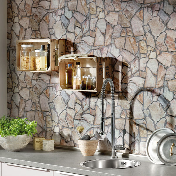 Stunning Stone Mosaic wall Brick Effect Wallpaper Yellow Beige 600x600