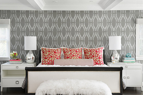 Geometric Wallpaper in Grey Modern Bedroom with Chrome Table Lamps 600x397