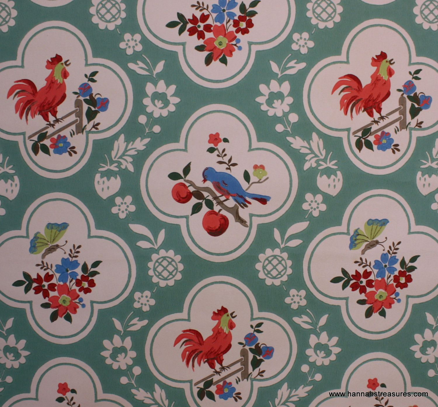1940s Vintage Wallpaper Red and Aqua with birds cherries roosters 1500x1391