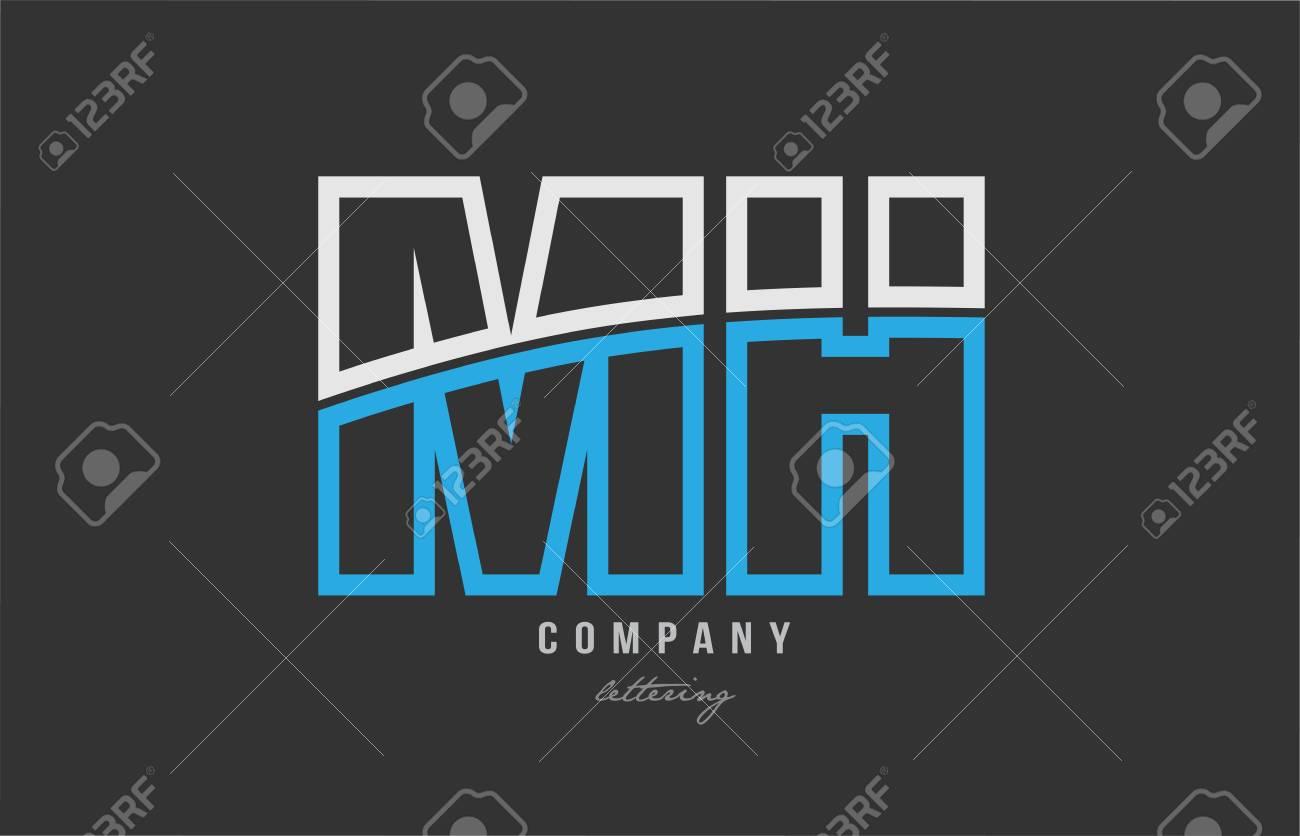 White Blue Alphabet Letter Mh M H Logo Combination Design On 1300x836
