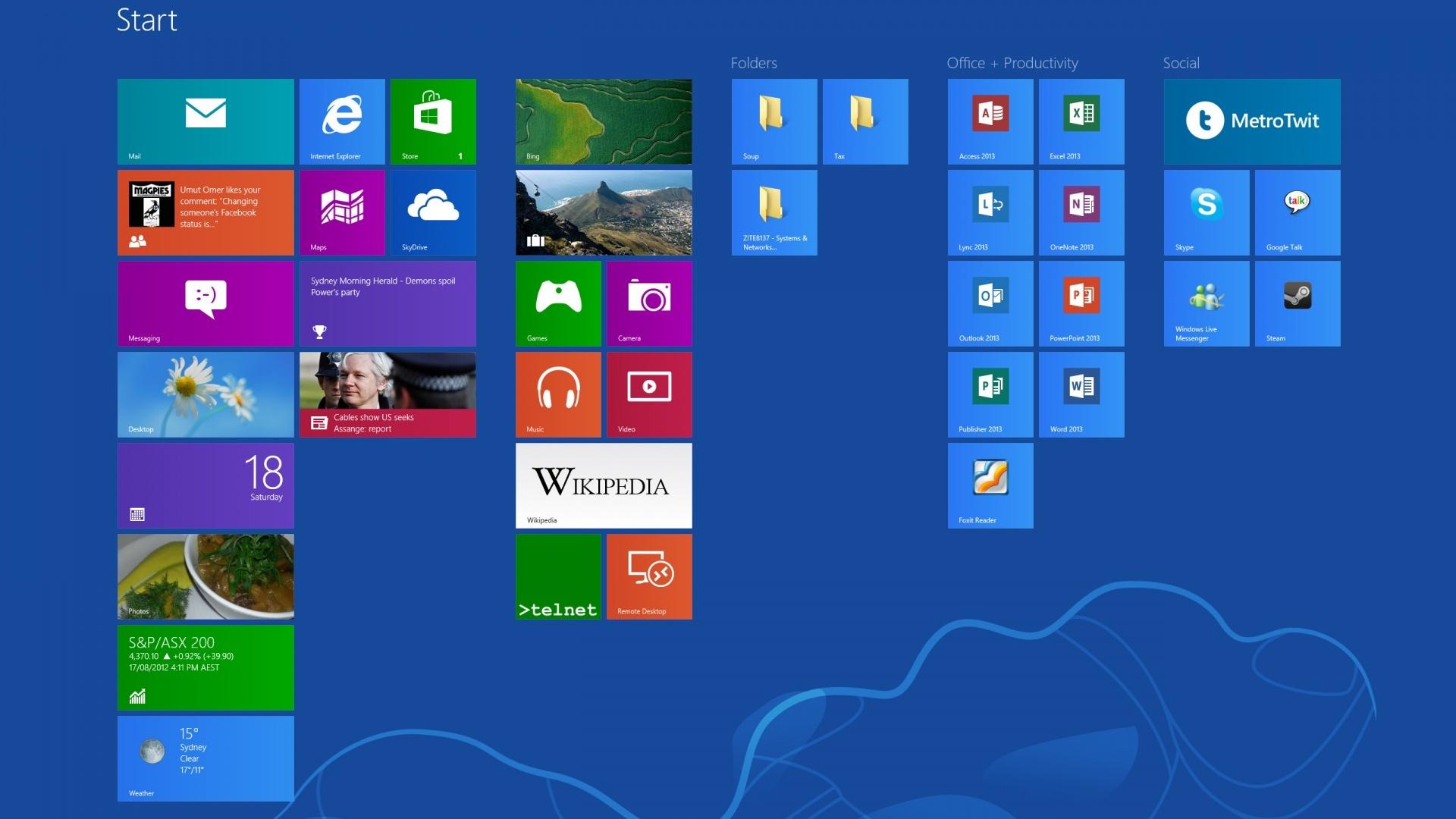 windows 8 start screen blue wallpaper HD Desktop Wallpapers Page2 1920x1080