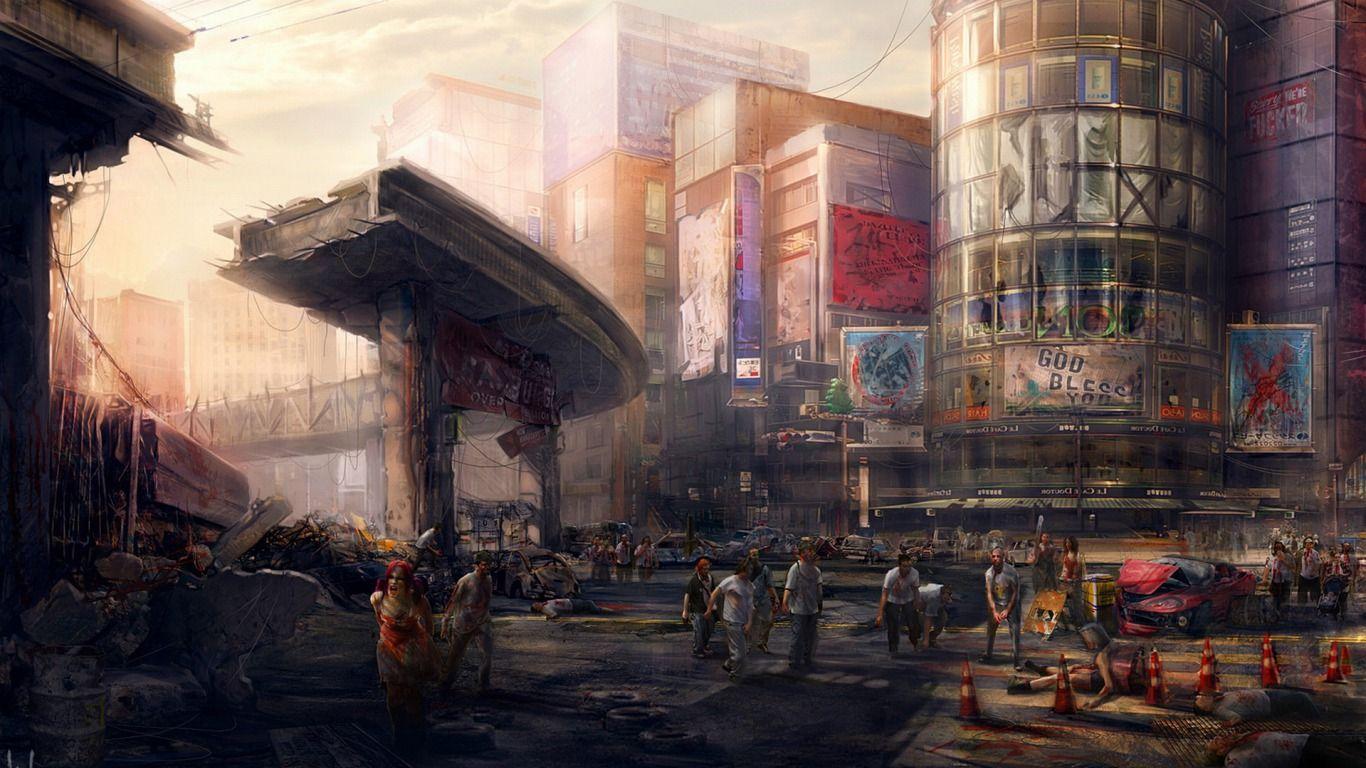 zombie city Zombies Apocalypse art Zombie wallpaper Zombie art 1366x768