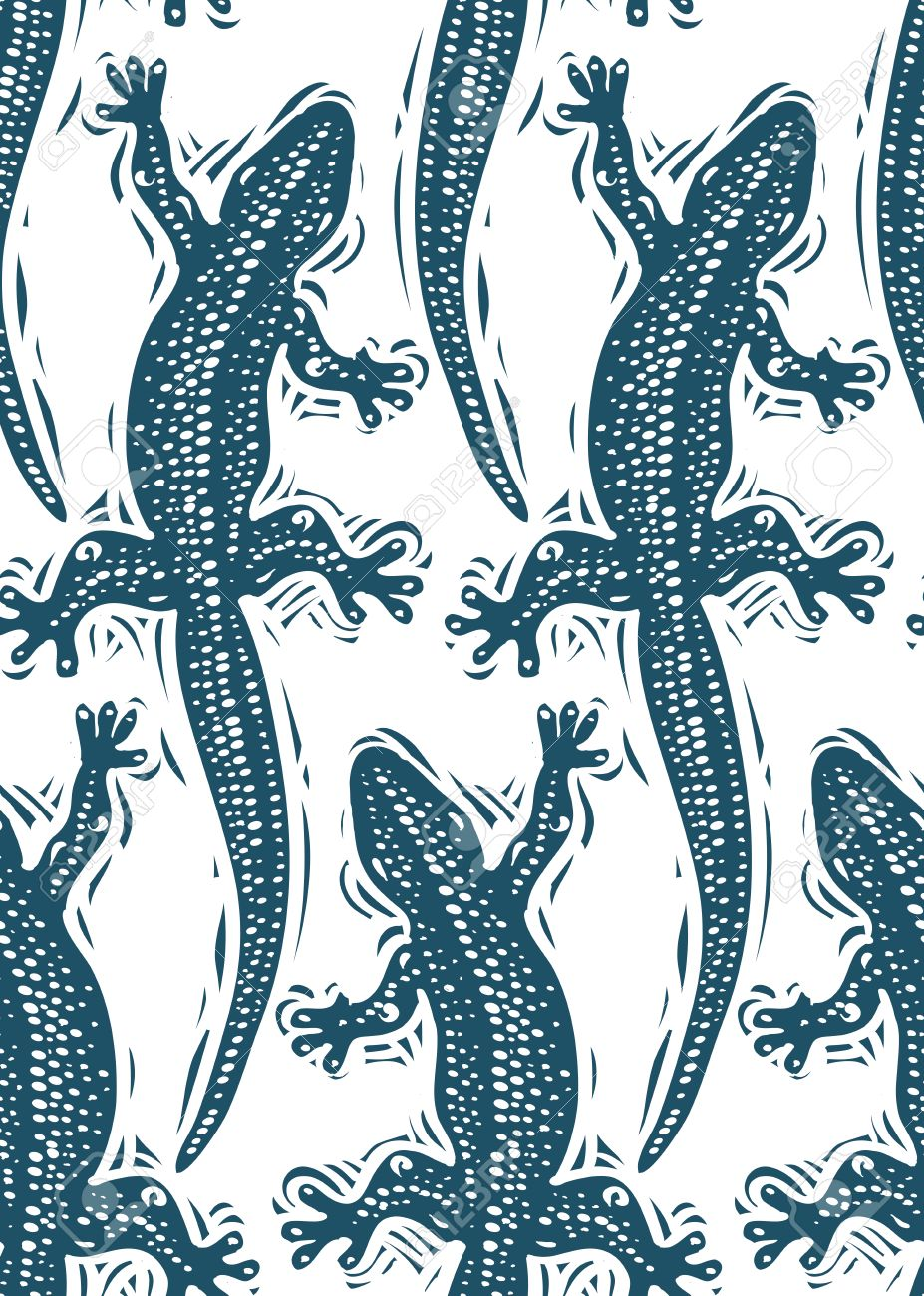 Vector Lizards Wrapping Paper Seamless Pattern With Reptiles 927x1300