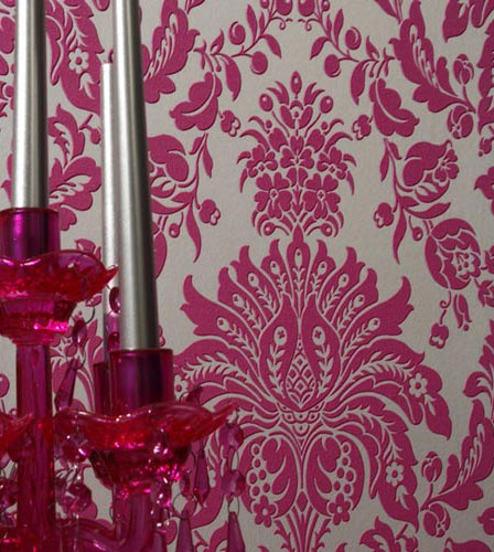 Elizabeth Pink and Silver Faux Flocked retro modern damask wallpaper 448x500