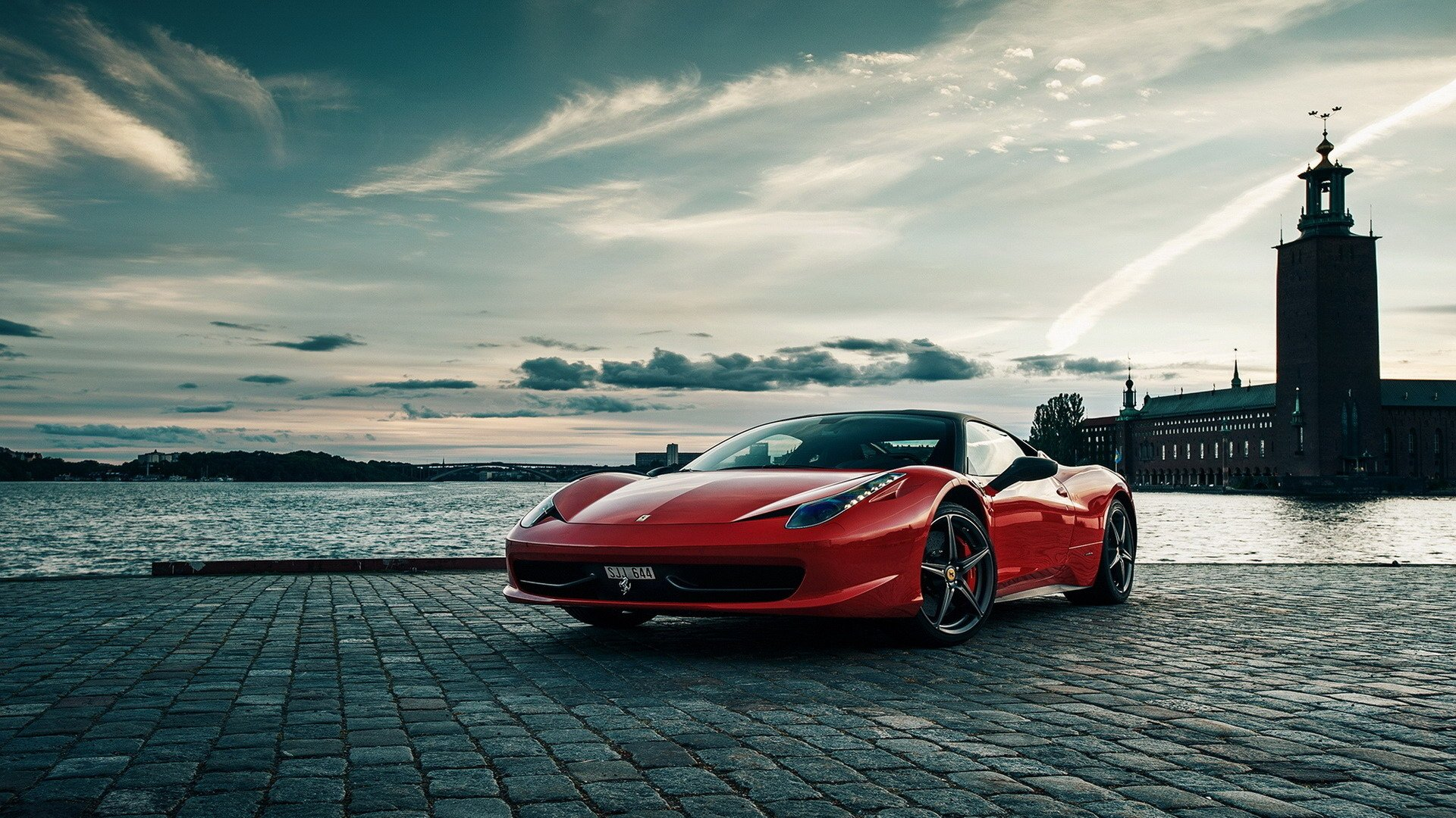 458 red color supercar Italy river HD Wallpaper Full HD 1080p 1920x1080