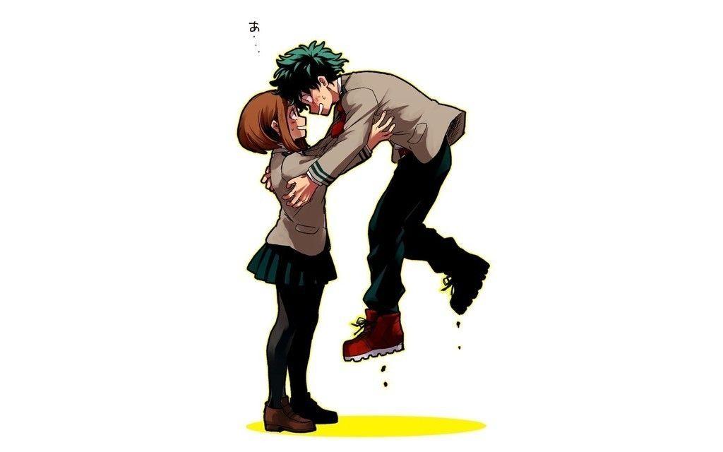 Ochako Uraraka Izuku Midoriya and his friend anime wallpaper 1024x640