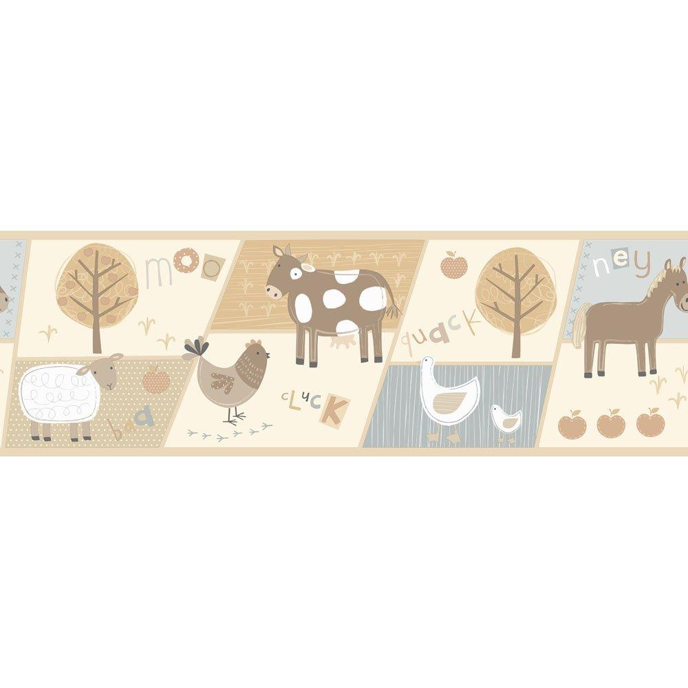 Fine Decor Farm Animals Hoopla Wallpaper Border Neutral Cream Blue 1000x1000