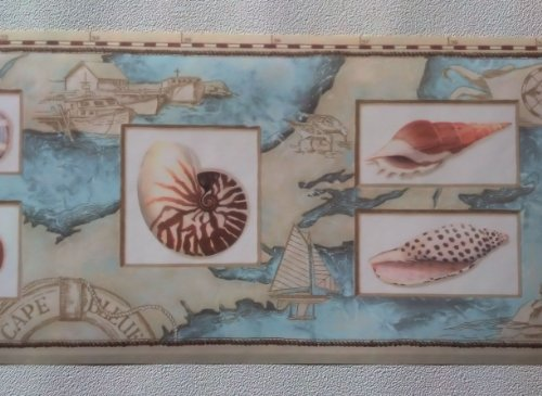 Rolling Borders Wallpaper Border Nautical Map Sea Shells Lighthouses 500x365