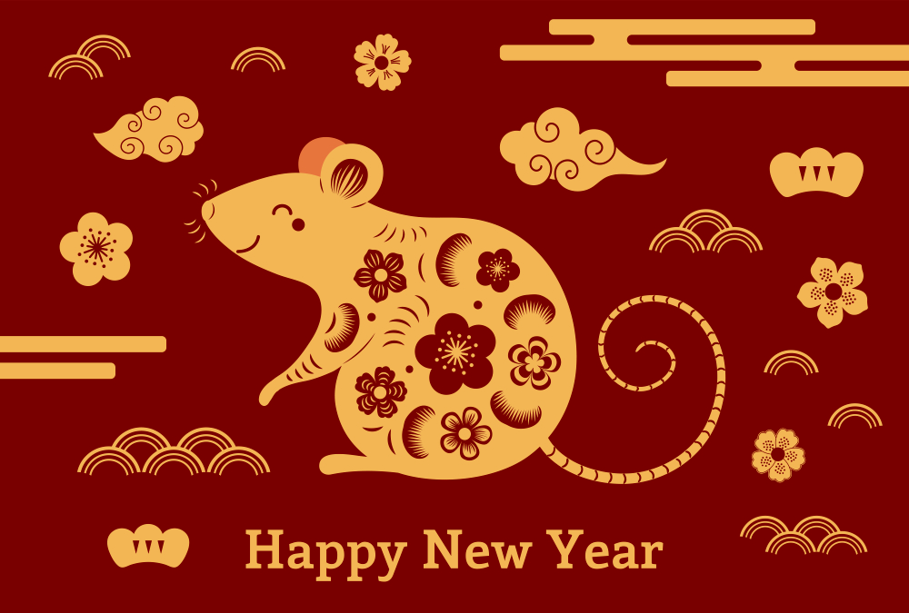 Happy chinese new year 2020 Zodiac sign year of the rat This 1000x675