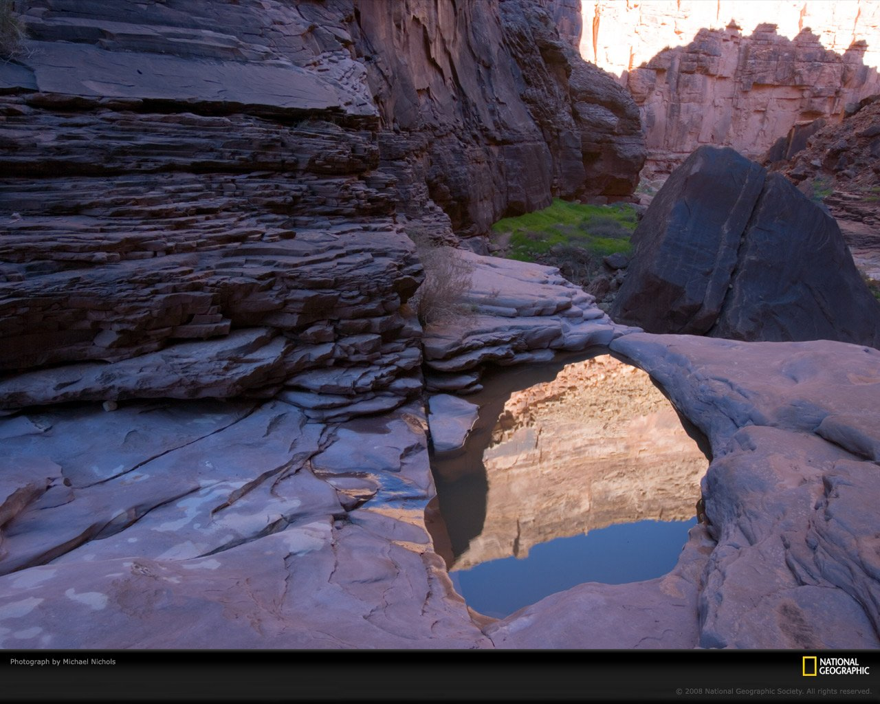 pool of rainwater in a grand canyon boulder reflects canyon and 1280x1024