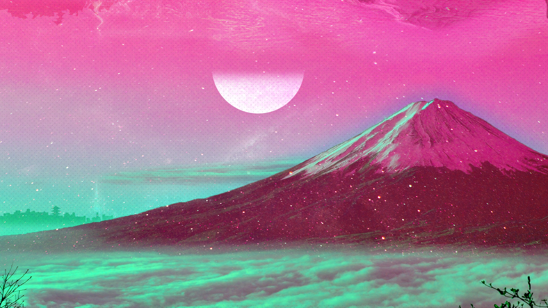 Vapourwave styled mount Fuji [1920 1080] wallpapers 1920x1080