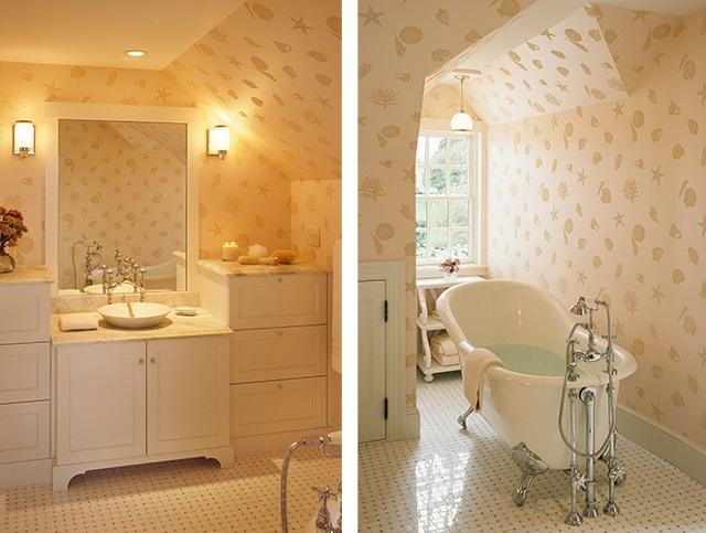 Neutral Bathroom Patterned Wallpaper Stunning Beach Cottage Interior 640x483