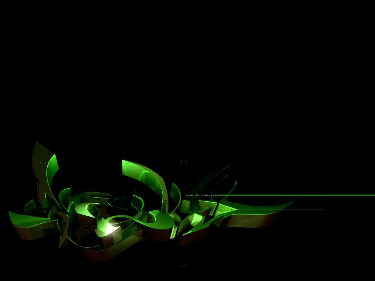 3D green in black graffiti wallpaper 1280x960
