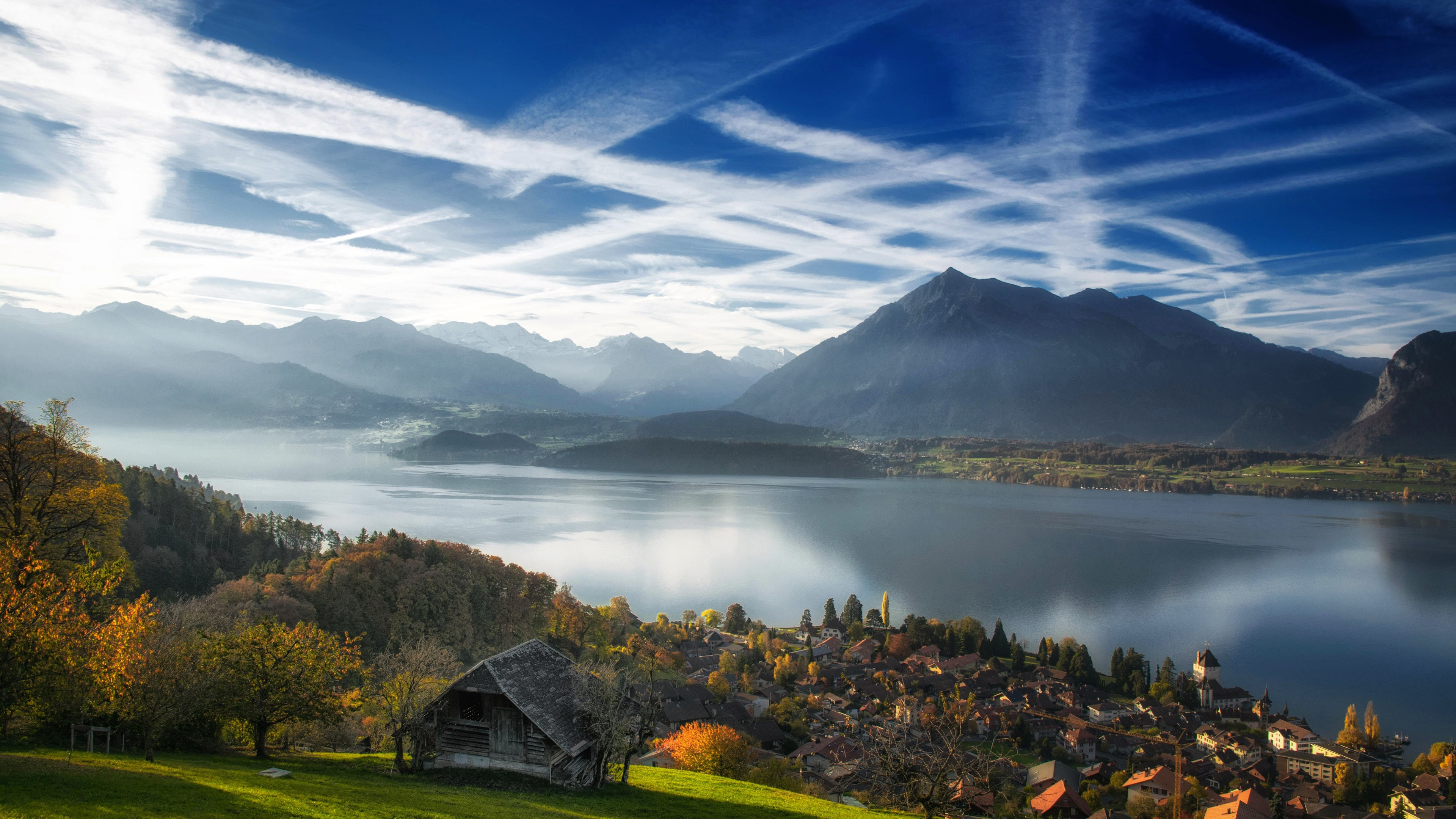 Wallpaper Switzerland Interlaken Lake Thun city mountains 3840x2160