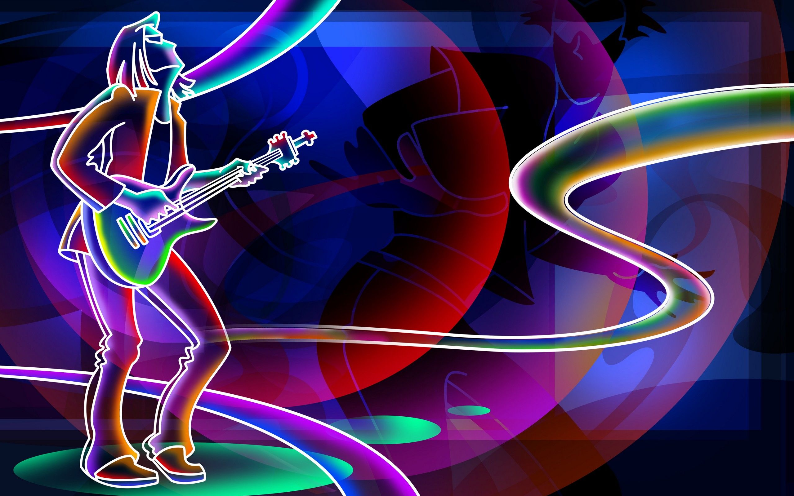 Colorful guitar music Neon Signs Neon wallpaper Music 2560x1600