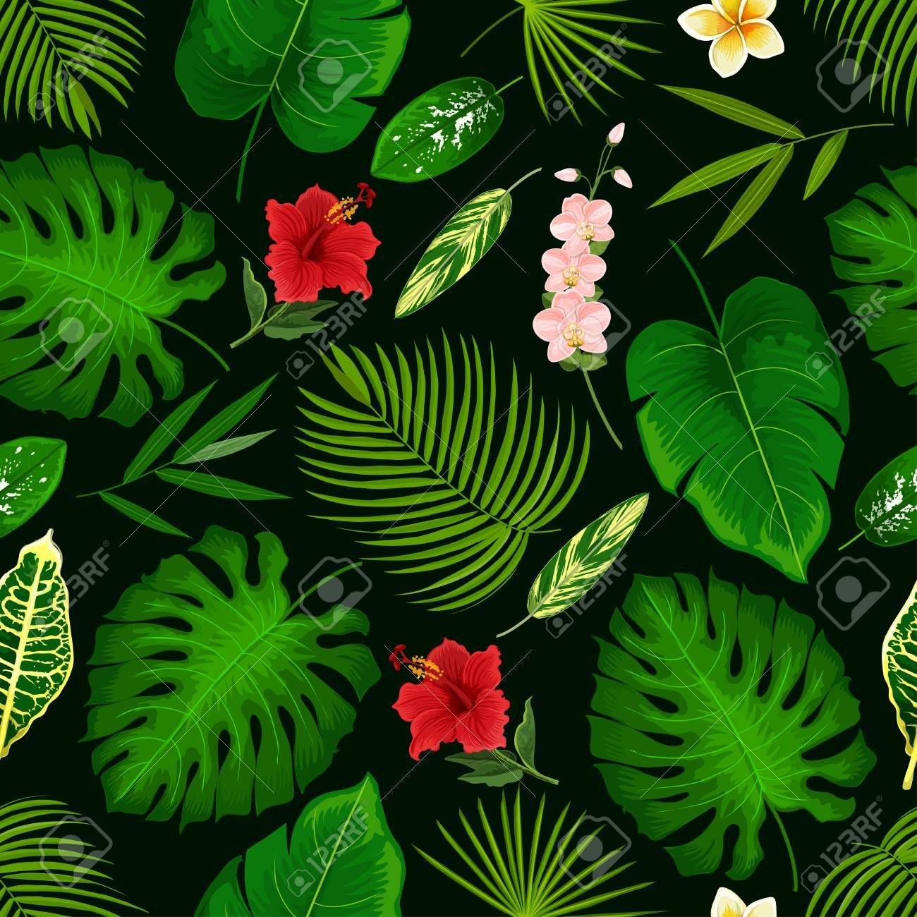 Tropical Palm Leaf And Exotic Flowers Pattern Background Vector 1300x1300