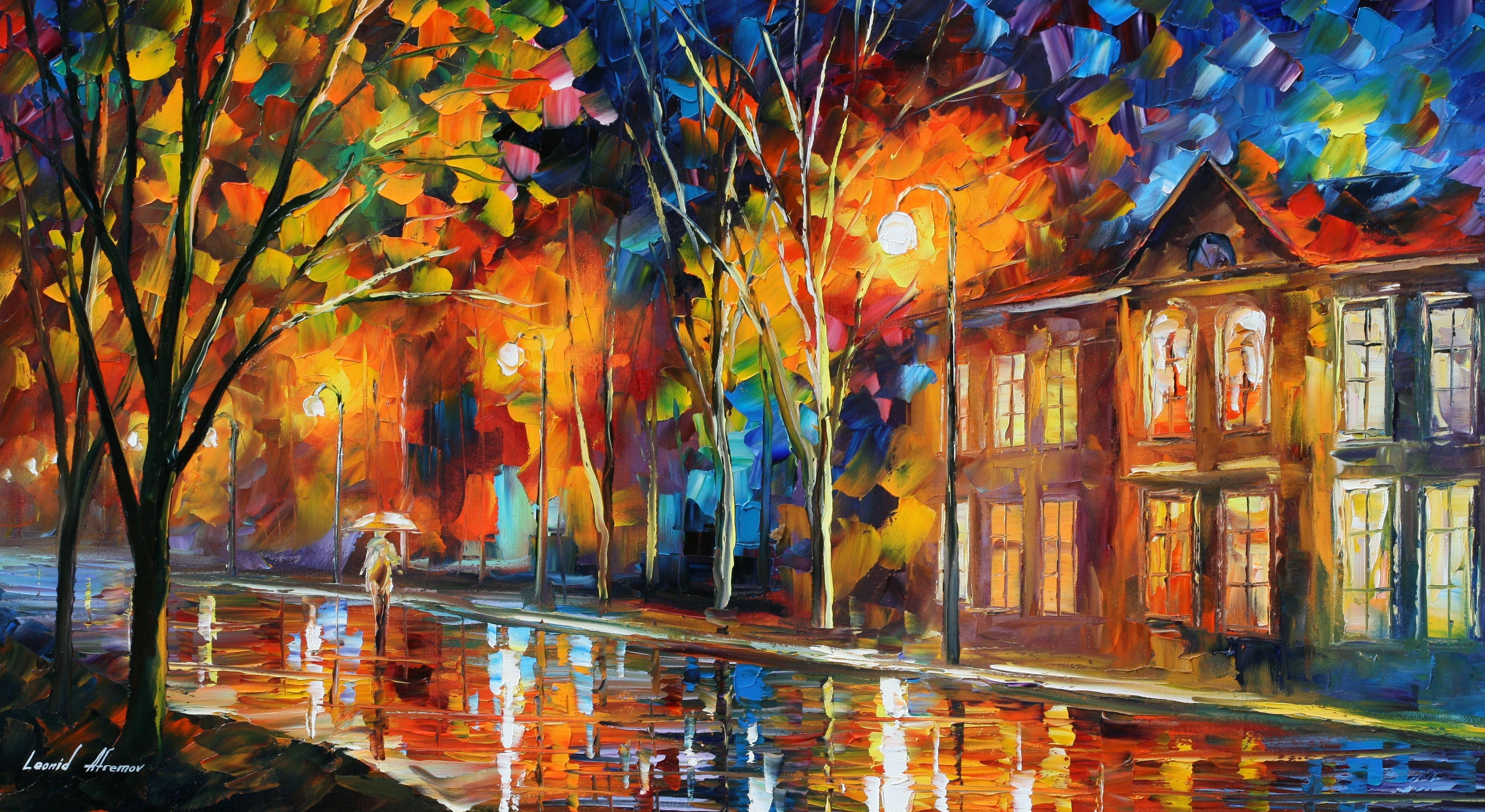 landscapes cityscapes Leonid Afremov traditional art Wallpapers 3568x1952