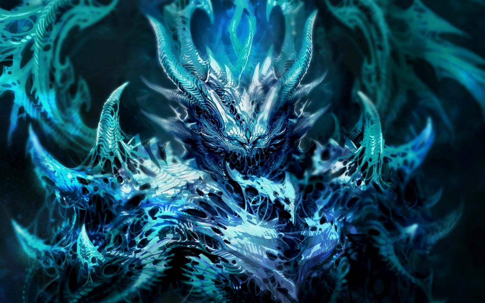 dark fantasy demon satan angel monster creature 3d magic horns blue 1920x1200