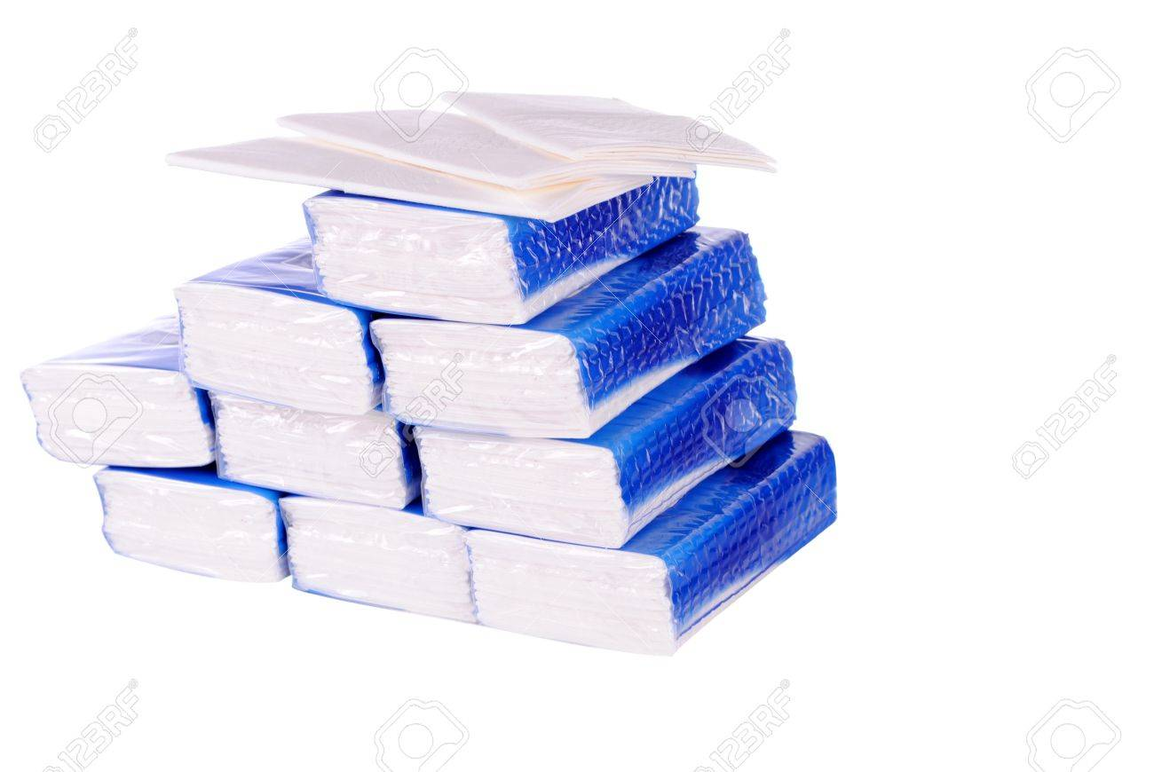 Pile Of Paper Handkerchief Pockets Isolated On White Background 1300x870