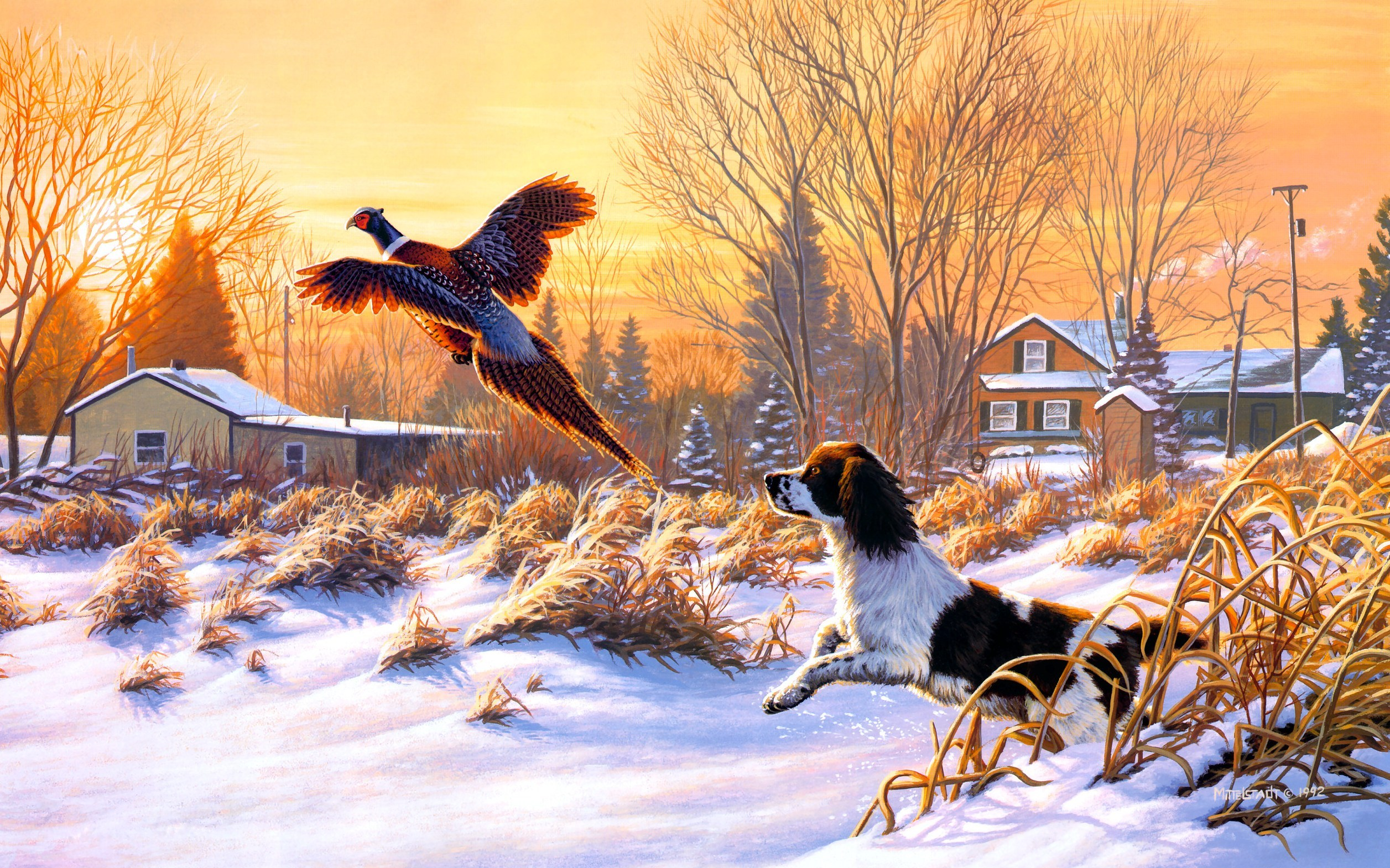 art nature winter snow hunting dog bird fly sunrise painting 2513x1570