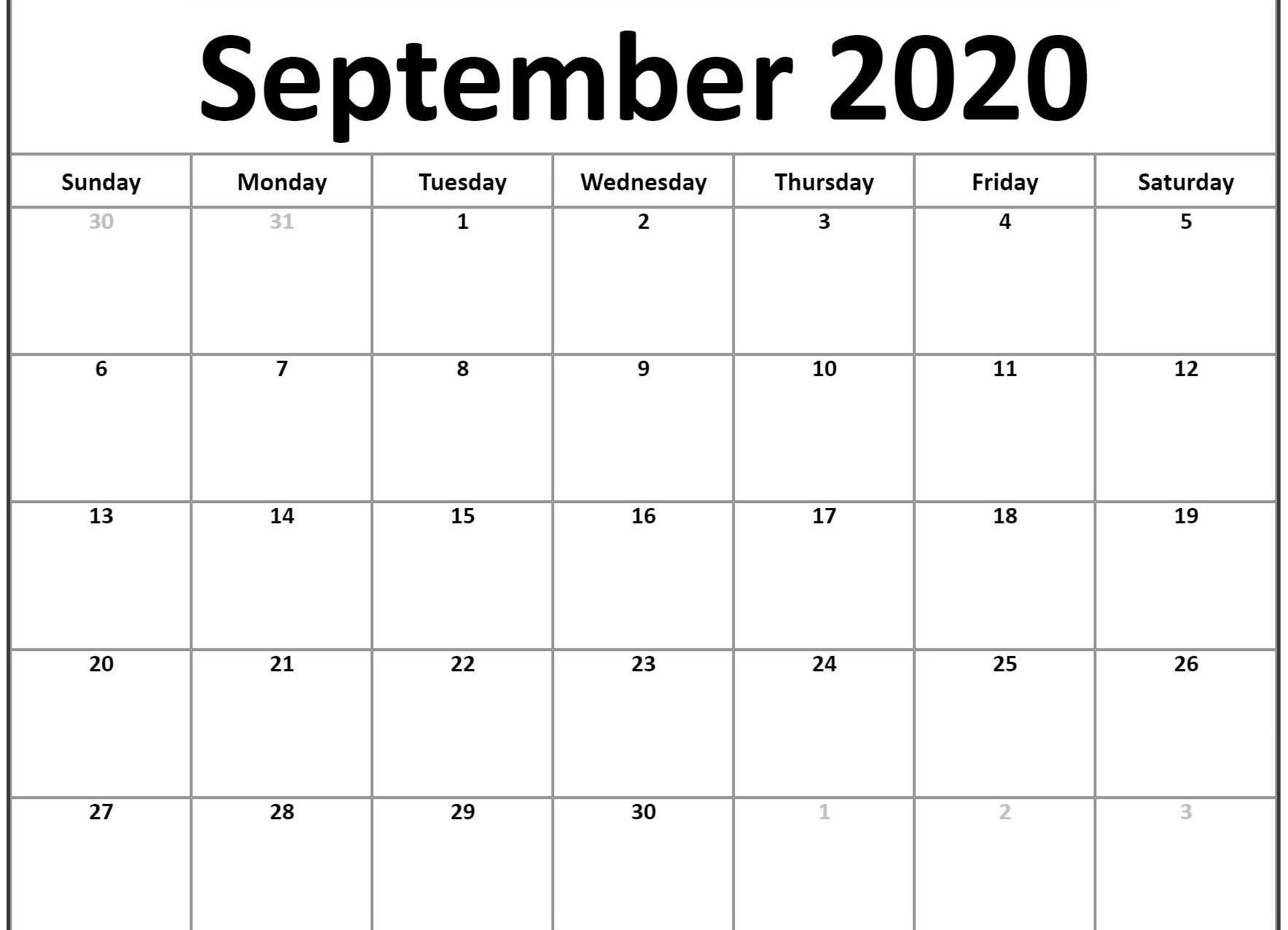 Awesome September 2020 Calendar PDF Word Excel Printable Template 1767x1276