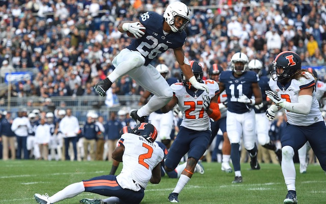 Penn State RB Barkley has hurdle of the day goes airborne 640x401