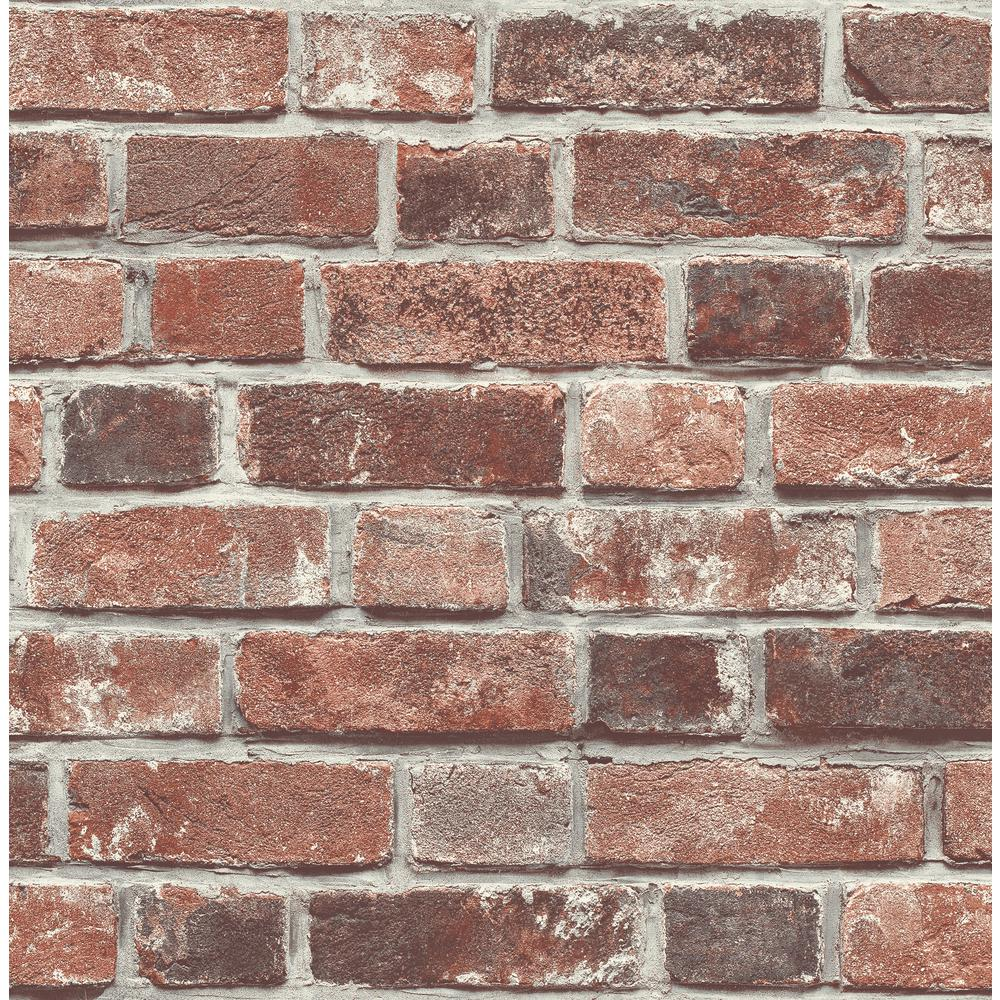 NextWall Distressed Red Brick Peel and Stick Wallpaper NW31700 1000x1000