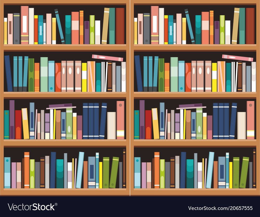 Bookshelve with books background library Vector Image 1000x833