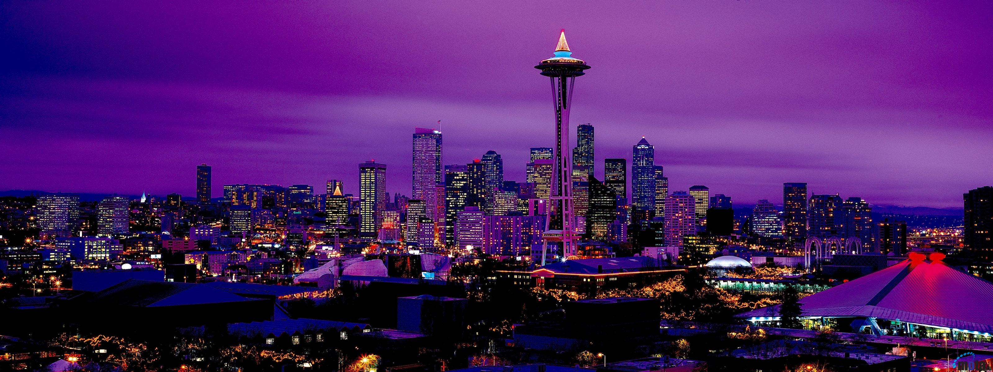 Download Wallpaper Seattle by night Washington USA 3200 x 1200 Dual 3200x1200