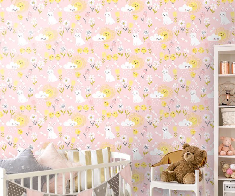 Bunny Wallpaper Girls Room Wallpaper Nursery Decor Etsy 794x662
