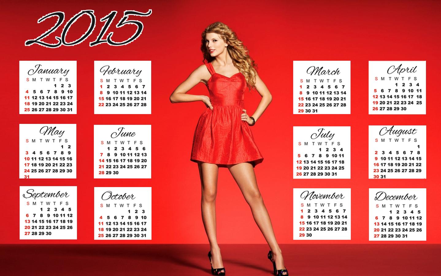 Taylor Swift red dress long hair style wallpaper calendar 2015 1438x900