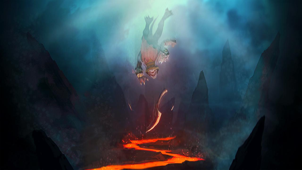 Wallpaper DOTA 2 Slark Monsters Warriors Fantasy Games 1280x720