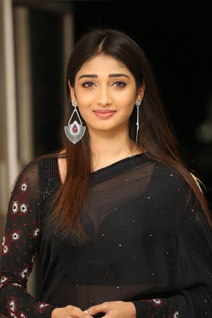 Husharu Heroine Priya Vadlamani In Transparent Black Saree 700x1050